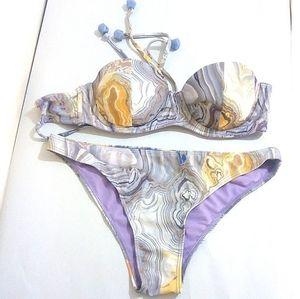 H&M Strapless Marble Purple and Yellow Full Bikini